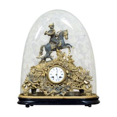 Mantel Clock with a Glass Dome, circa 1930s