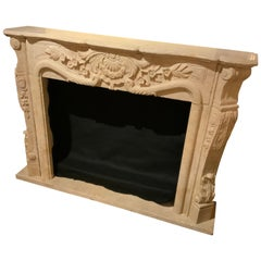Mantel in Hand Carved Travertine, Cream Color