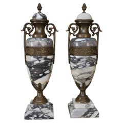 Mantel Urns, Cassolettes, 19th Century French Marble and Bronze