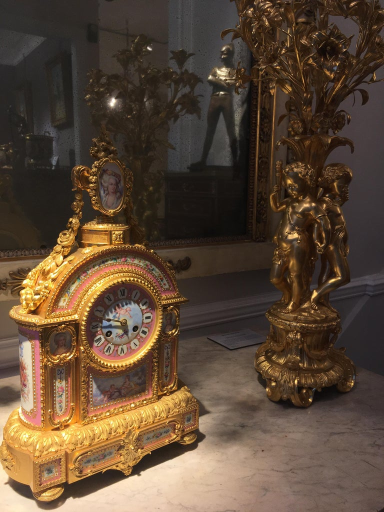 Gold Mantelpiece Clock in the Louis XVI Manner, Retailed by E & S Watson of London For Sale