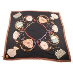 MANTERO Vintage Black Silk Jacquard SCARF Purse & Bags Print AY