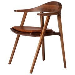 Mantis Chair in Solid Walnut with Leather Cushion Designed by Craig Bassam