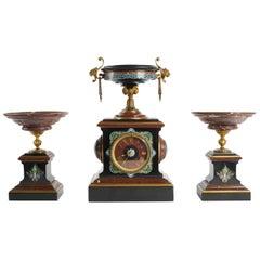 Mantle Clock Napoleon III, Eugene Cornu Enamel, Cherry and Black Belgian Marble