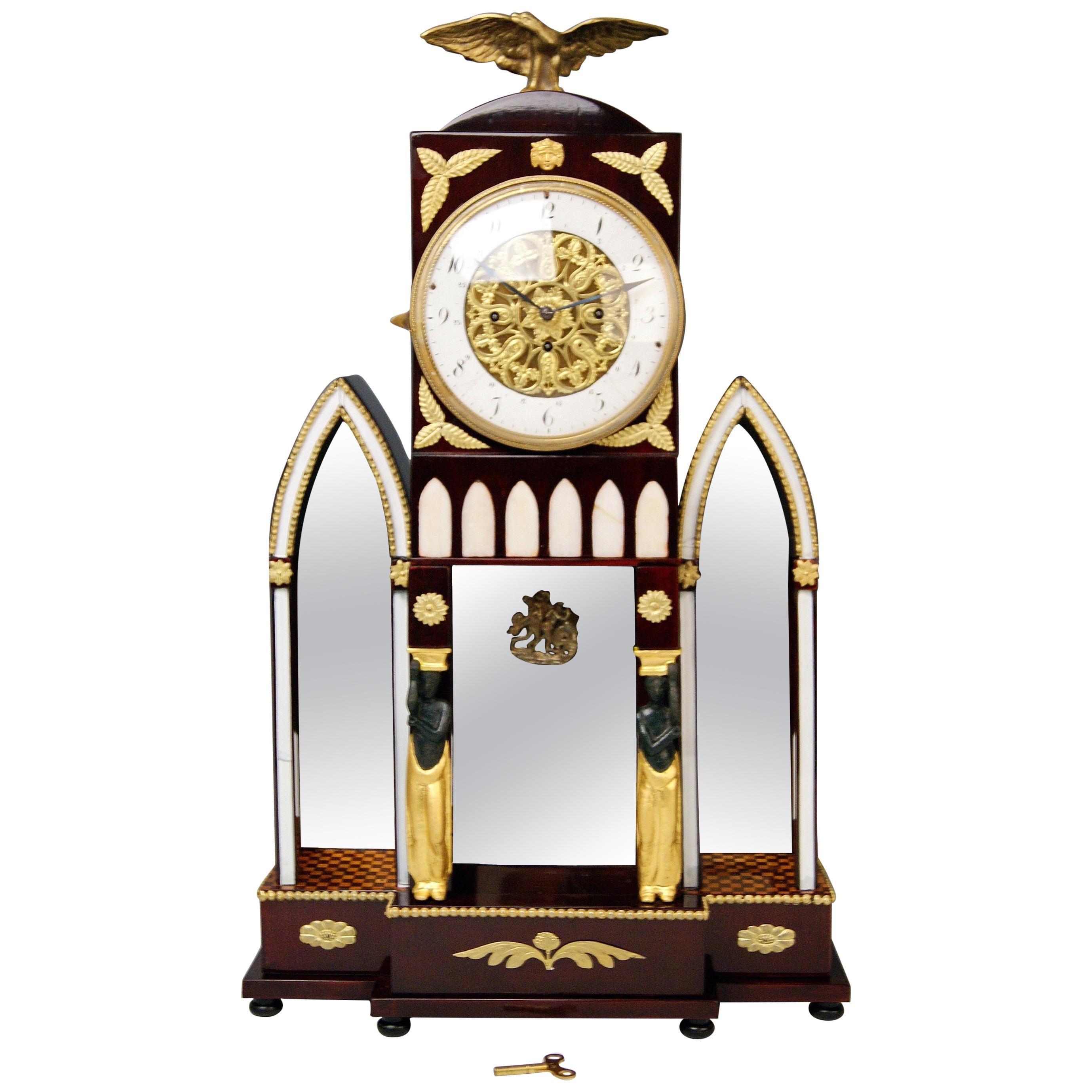 Mantle Mantel Table Chiming Clock Caryatides Empire Austria, Vienna