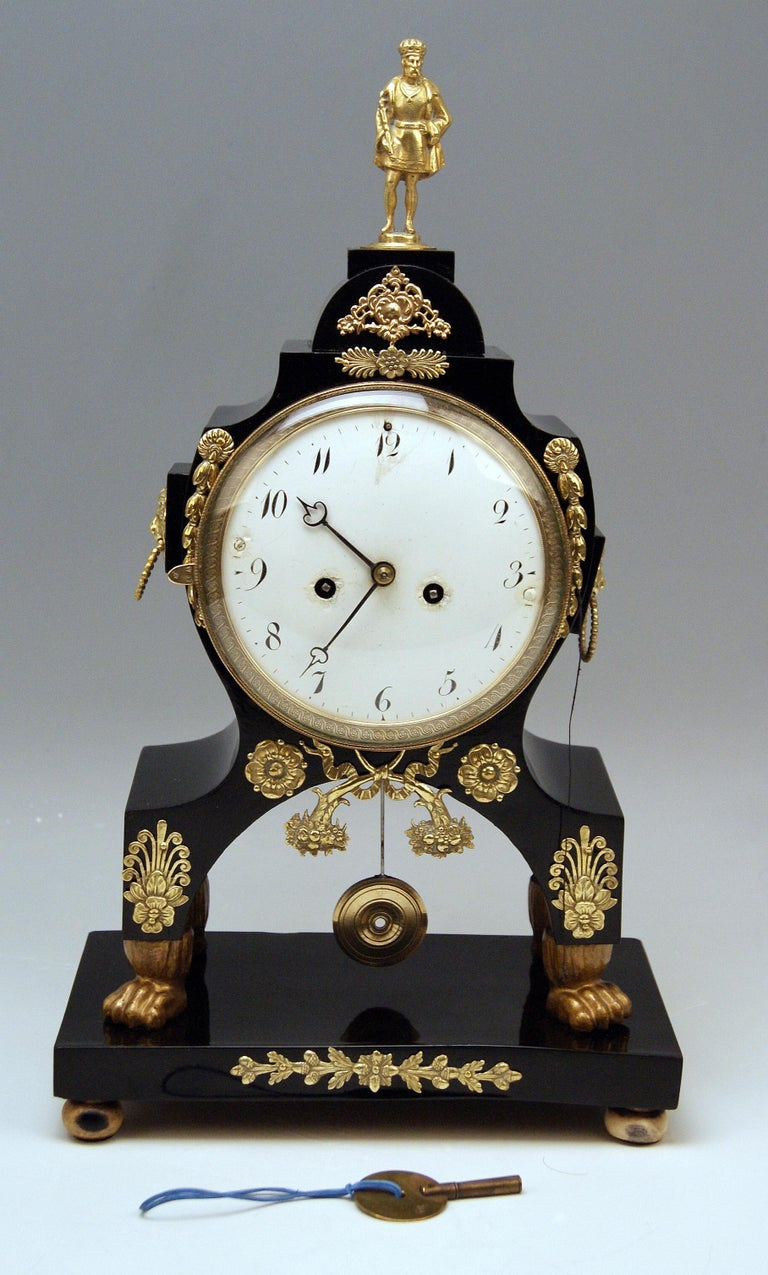 Viennese mantle / mantel / table chiming clock Empire style 