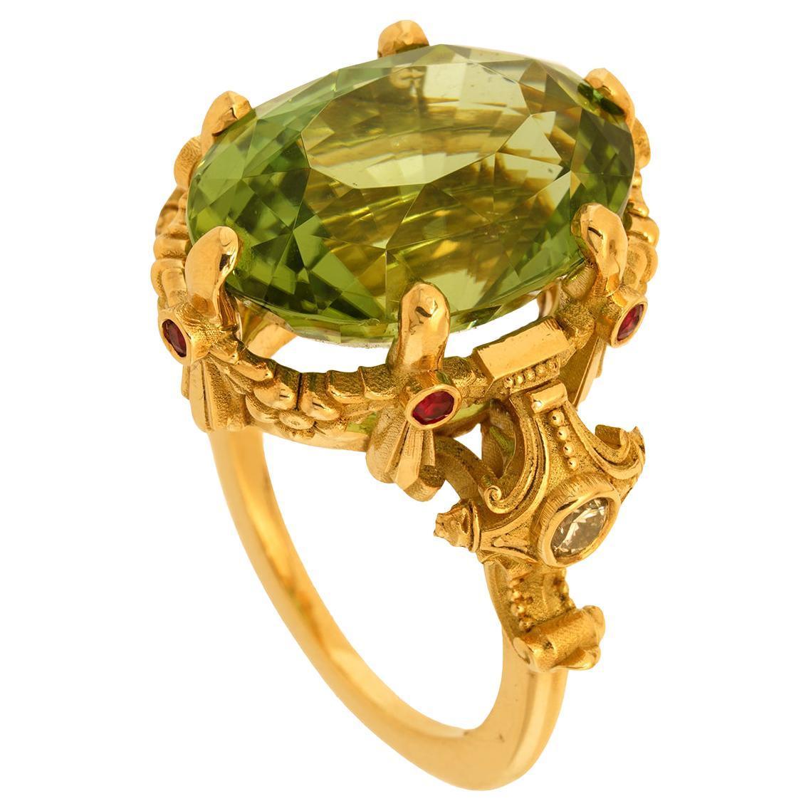 Mantle of Chronos Ring 18kt Yellow Gold, Green Tourmaline, Rubies White Diamonds