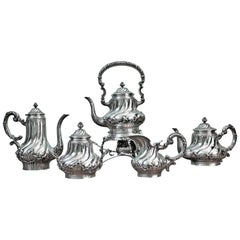 Mantovani 19th Century Silver Rococo Italian Tea Set with Samovar, 1880s