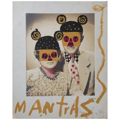 Mantras, Mixed-media Vintage photograph drawn on with pen and acrylic paint