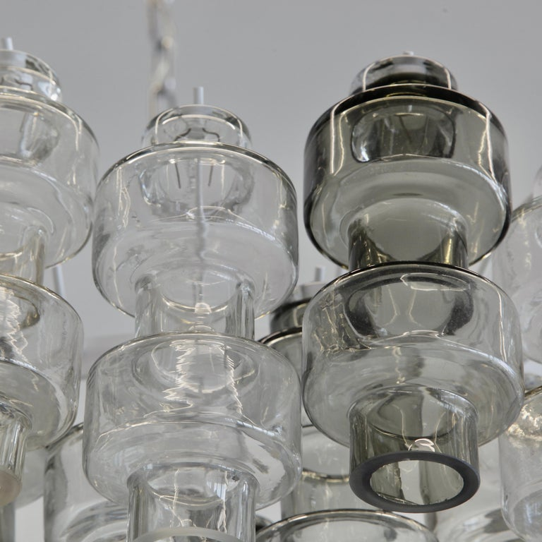 Organic Modern Manubri Murano Glass Chandelier 'clear/ slightly tinted/ smoke glass' For Sale