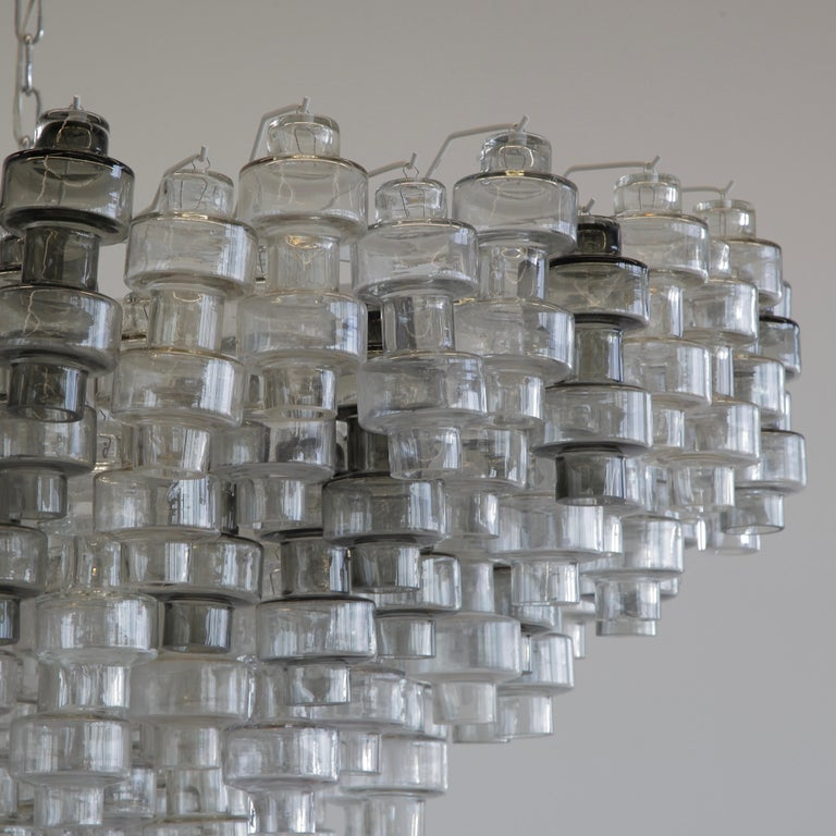Italian Manubri Murano Glass Chandelier 'clear/ slightly tinted/ smoke glass' For Sale