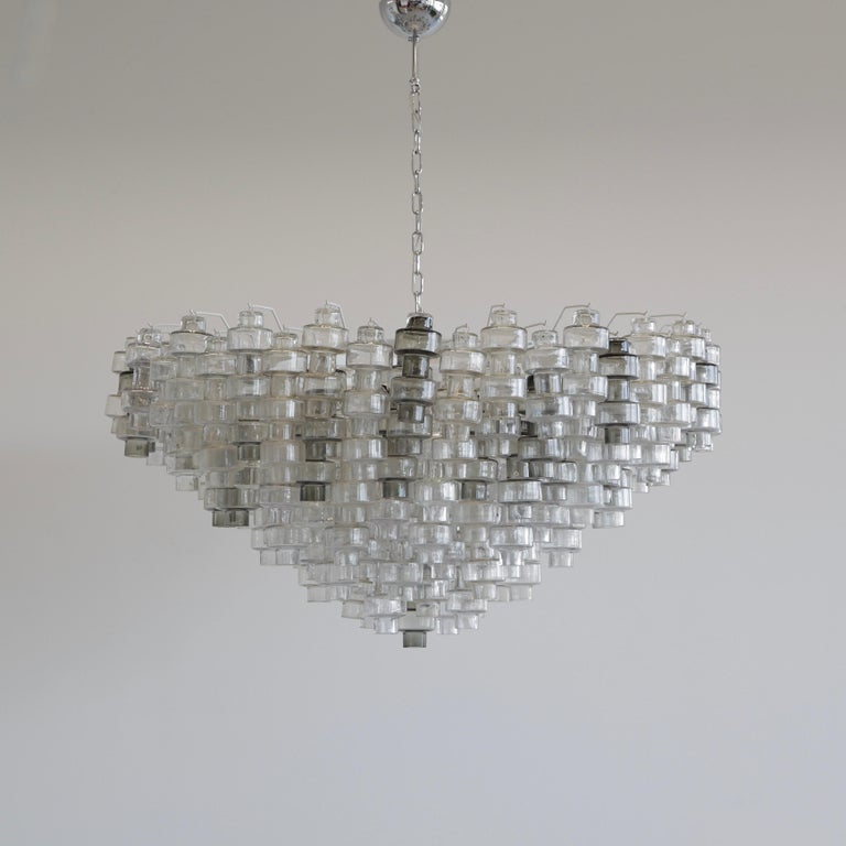 Manubri Murano Glass Chandelier 'clear/ slightly tinted/ smoke glass' In Good Condition For Sale In Berlin, Berlin