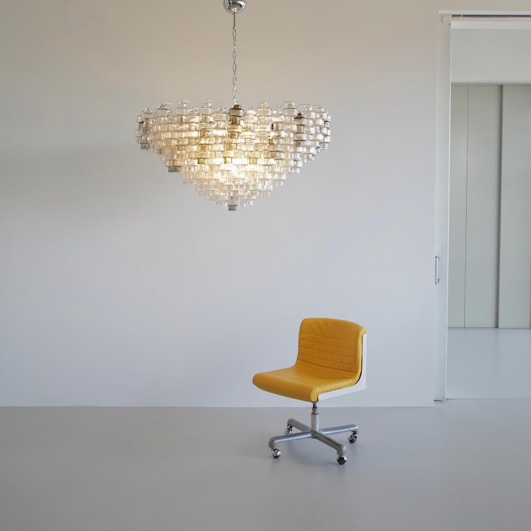 Contemporary Manubri Murano Glass Chandelier 'clear/ slightly tinted/ smoke glass' For Sale