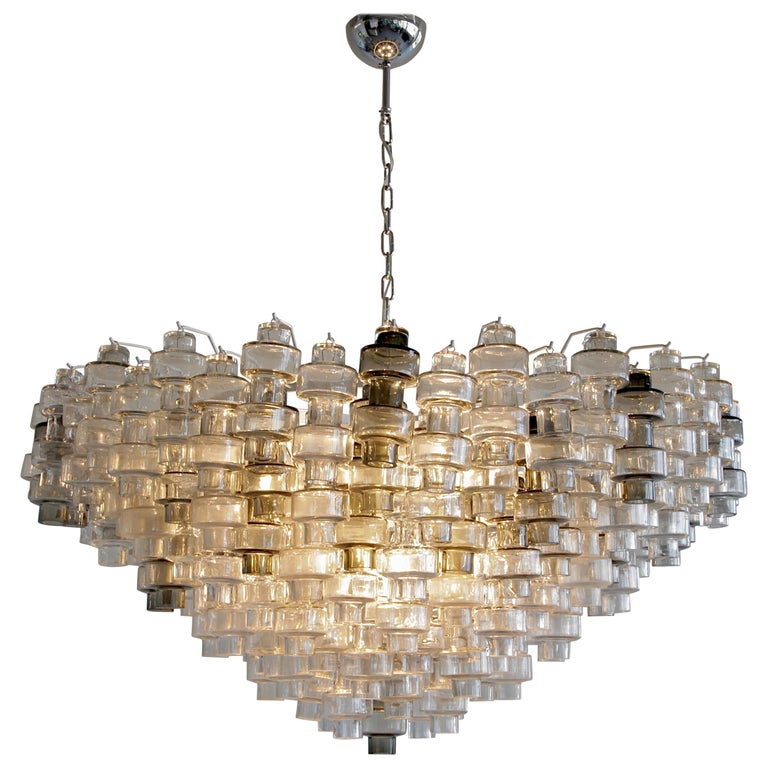 Manubri Murano Glass Chandelier 'clear/ slightly tinted/ smoke glass' For Sale