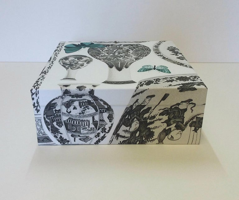 Women's or Men's Manuel Canovas Fabric Decorative Storage Box for Scarves Handmade in France For Sale