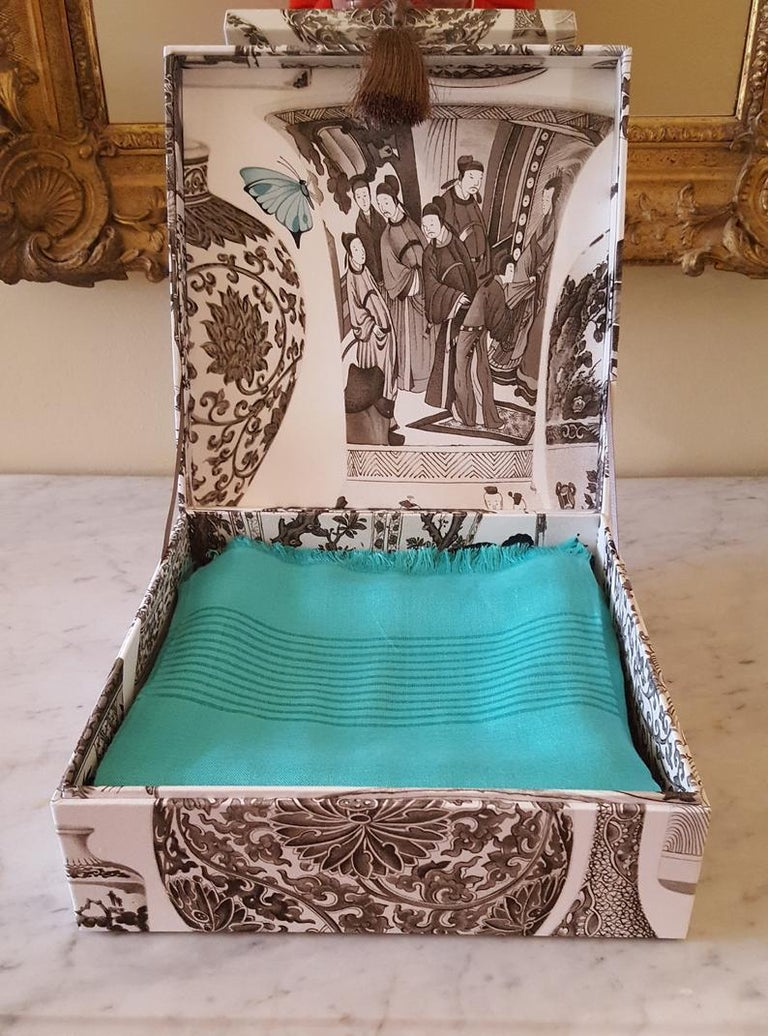 Manuel Canovas Fabric Decorative Storage Box for Scarves Handmade in France For Sale 3