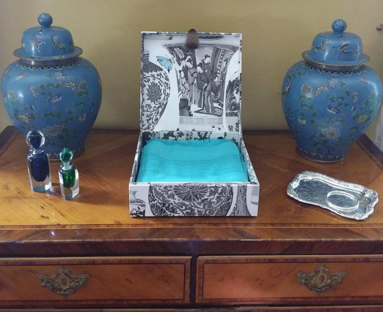 Manuel Canovas Fabric Decorative Storage Box for Scarves Handmade in France For Sale 4