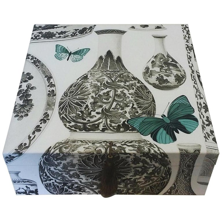 Manuel Canovas Fabric Decorative Storage Box for Scarves Handmade in France For Sale