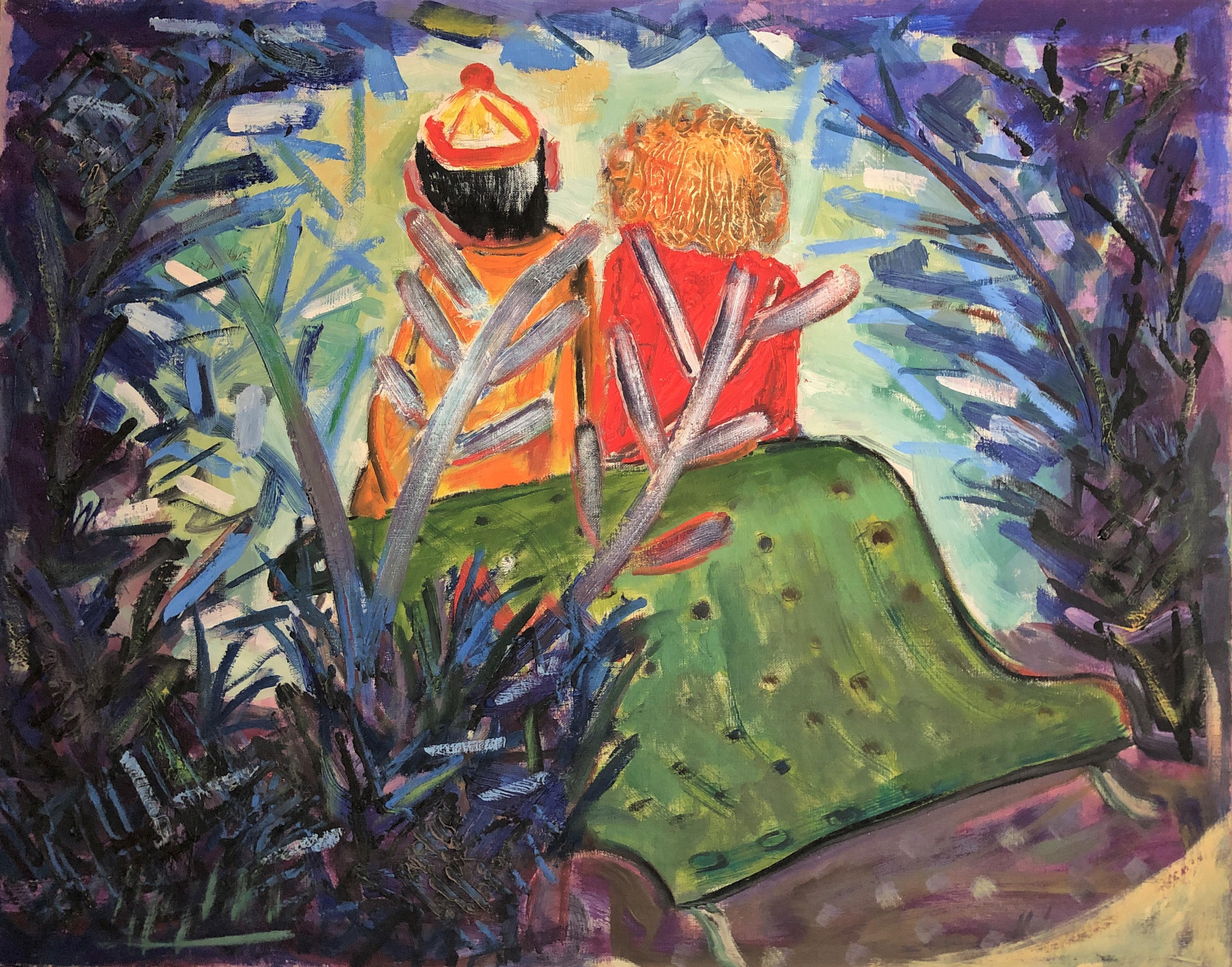 Les palmiers original oil on canvas painting