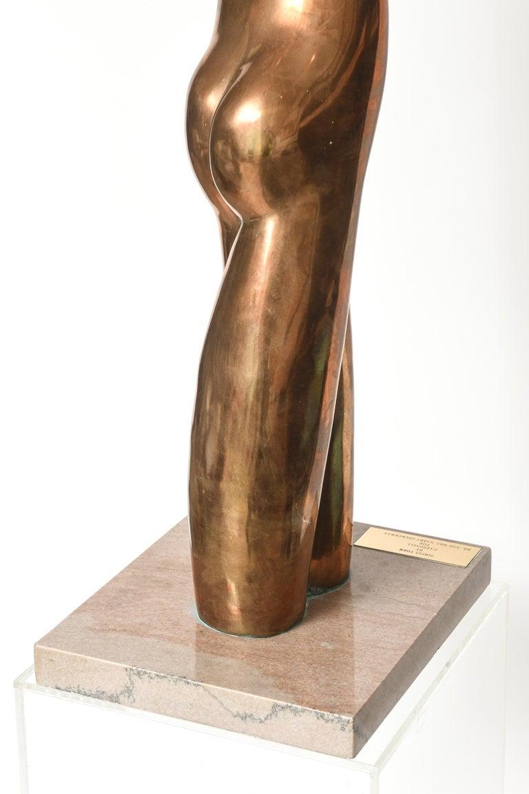 Manuel Carbonell Limited Edition Simple Form Figure Bronze Sculpture, circa 1976 For Sale 2