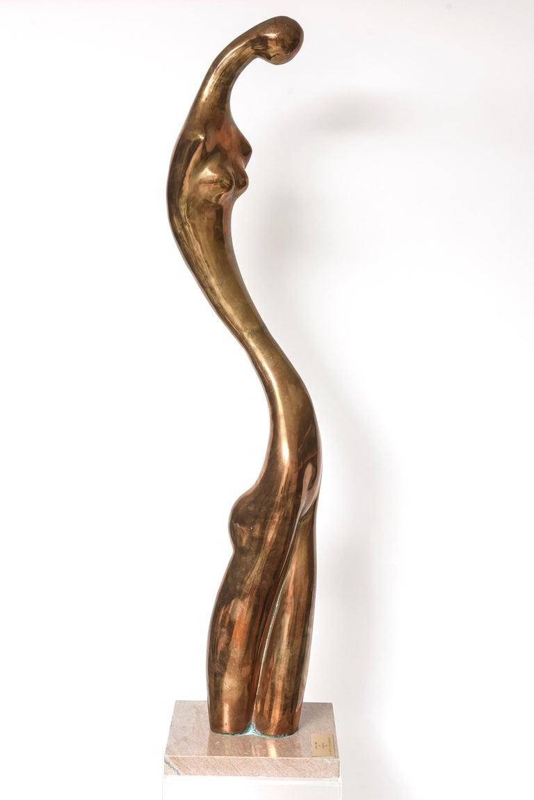 Manuel Carbonell Limited Edition Simple Form Figure Bronze Sculpture, circa 1976 For Sale 4