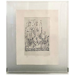 Manuel Cargaleiro Black and White Serigraph on Paper