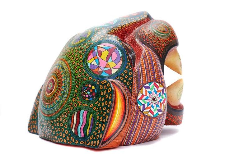 Mascara Jaguar - Jaguar Mask - Mexican Folk Art  Cactus Fine Art - Sculpture by Manuel Cruz Prudencio
