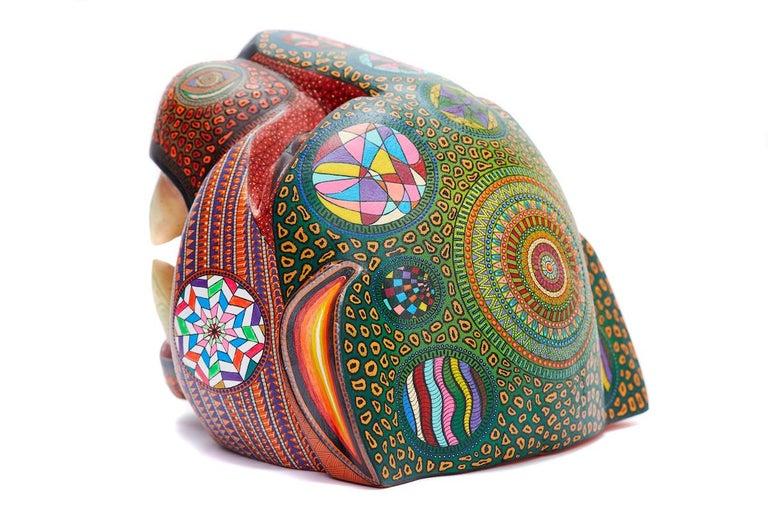 Mascara Jaguar - Jaguar Mask - Mexican Folk Art  Cactus Fine Art - Brown Figurative Sculpture by Manuel Cruz Prudencio