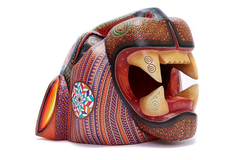 Manuel Cruz Prudencio  Figurative Sculpture - Mascara Jaguar - Jaguar Mask - Mexican Folk Art  Cactus Fine Art