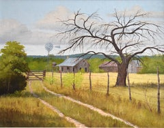 """""""ROAD HOME"""" TEXAS HILL COUNTRY  SHACK BARN WINDMILL LANDSCAPE"""