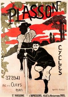 """Cycles Plasson"" Original Vintage Bicycle Poster 1890s"