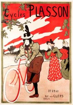 """Cycles Plasson"" Original Vintage Cycling Poster"