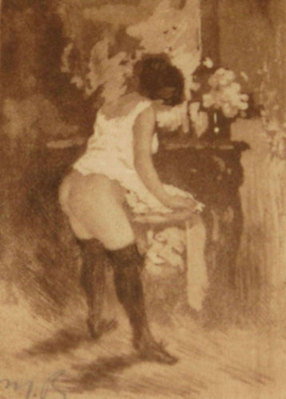 Manuel Robbe Figurative Print - La Toilette (Woman Dressing)