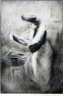 Lady looking at Prints