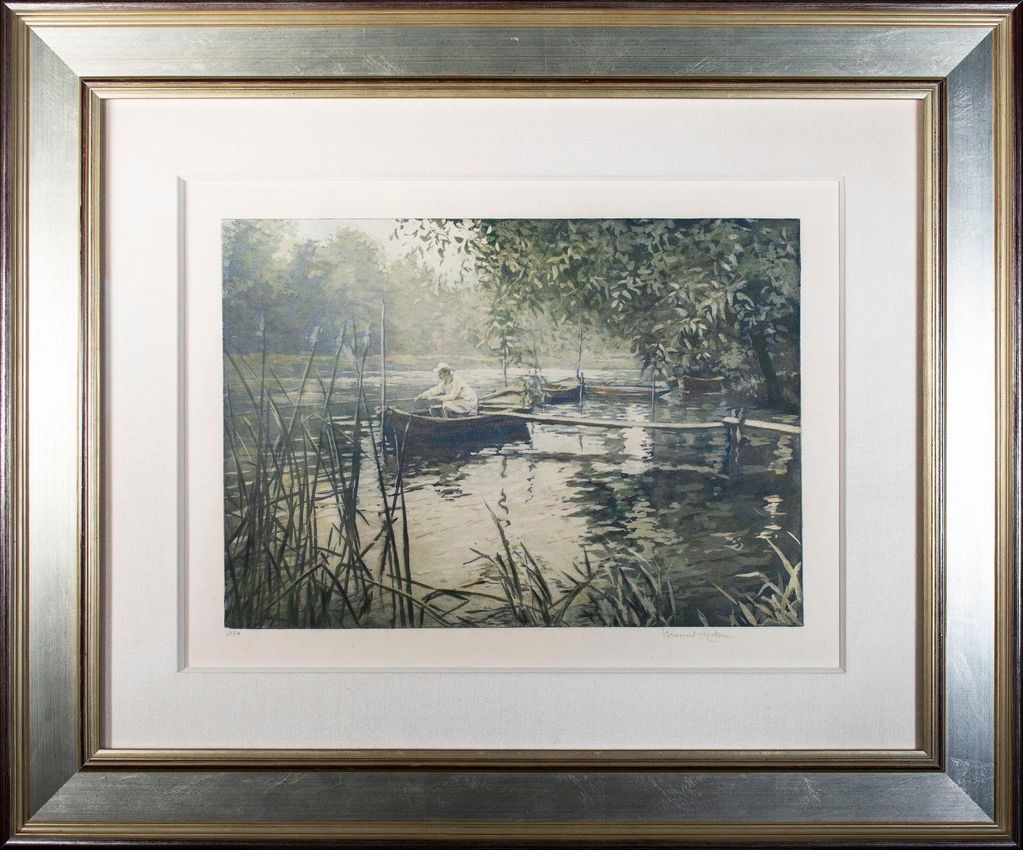 'Le Pecheur,' original Impressionist aquatint signed by Manuel Robbe