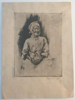 Picture of Woman - Original Etching by Manuel Robbe - 1892