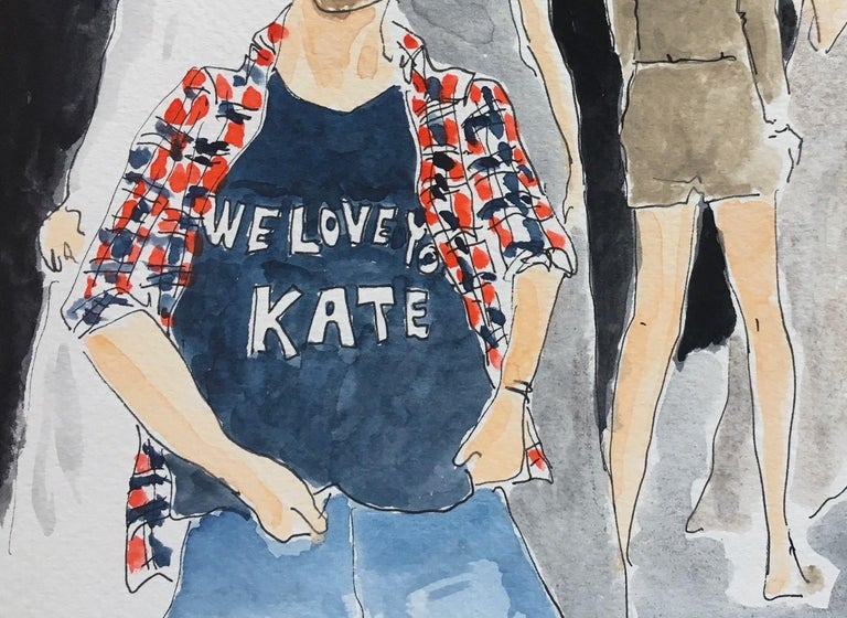 Alexander McQueen/ We love Kate - Gray Portrait Painting by Manuel Santelices