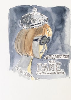 Anna Wintour, The Dame, one of a kind watercolor, 2018