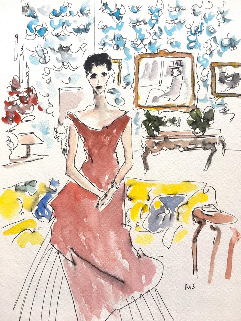 Manuel Santelices Interior Art - Babe Paley at home