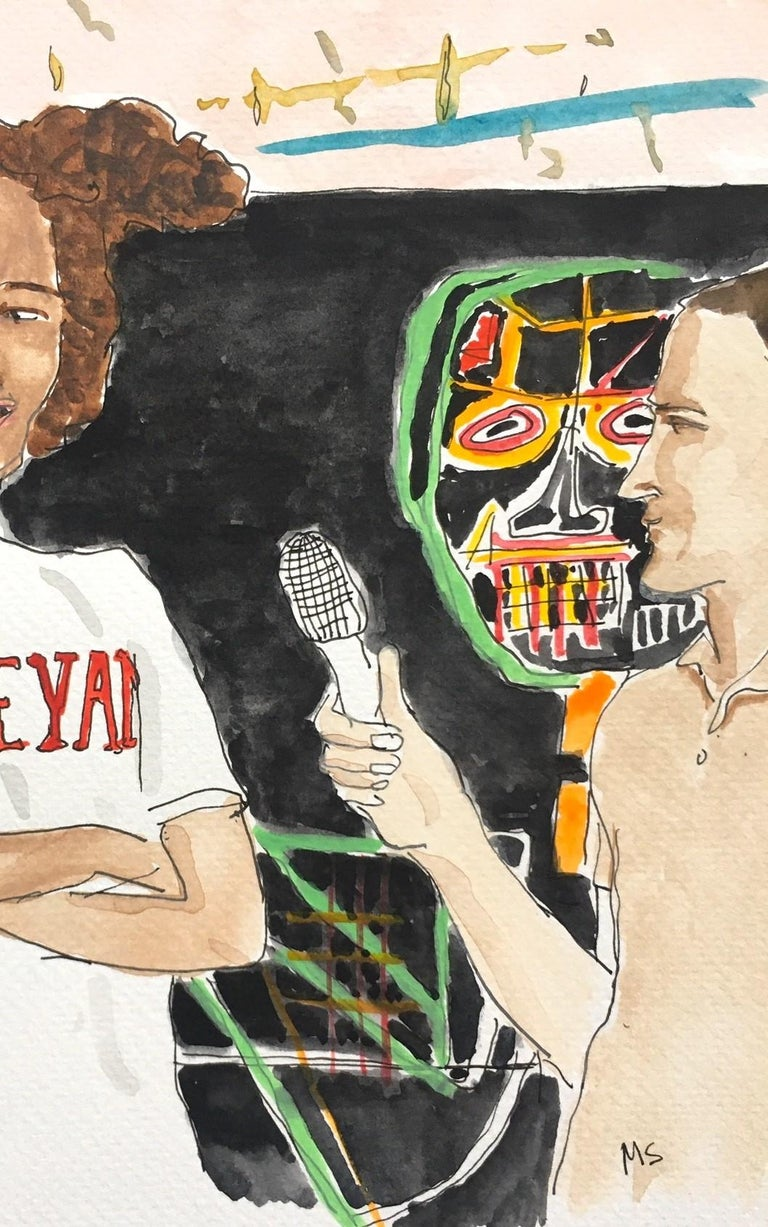 Basquiat gives and interview - Contemporary Painting by Manuel Santelices