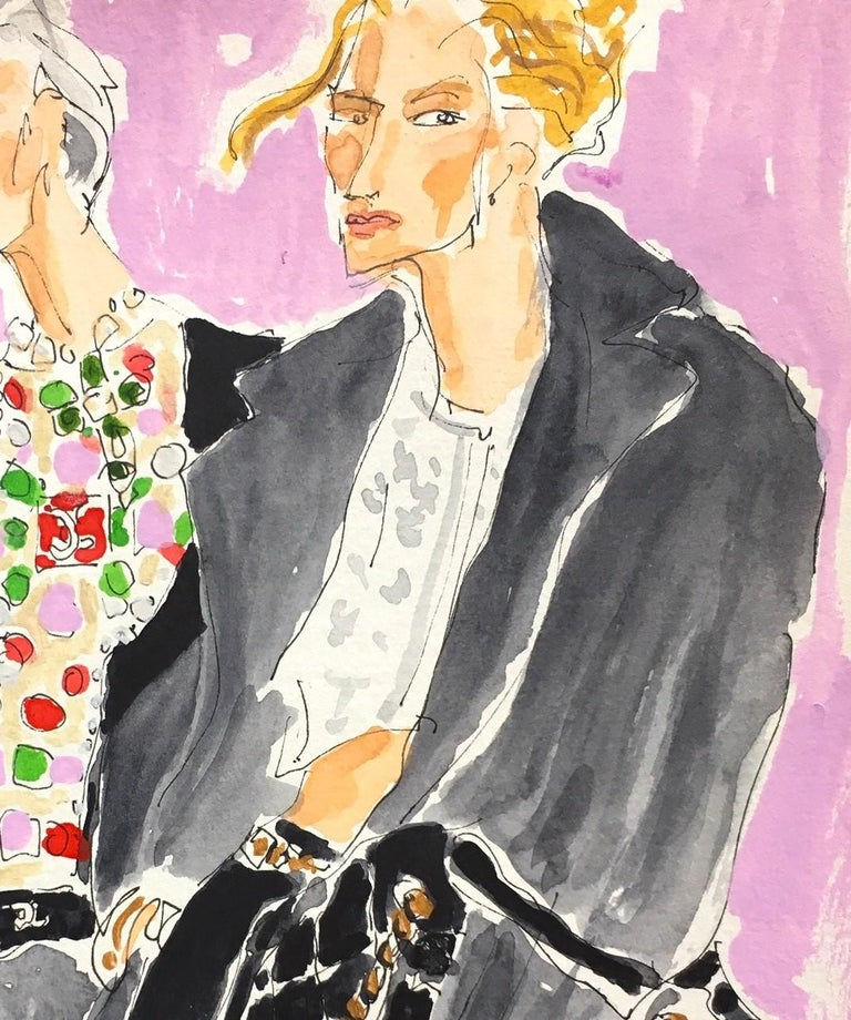 Chanel fall 2020 - Gray Portrait Painting by Manuel Santelices