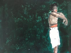 Dancer in green. Painting on board
