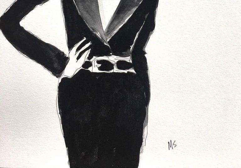 Deeda Blair in black - Painting by Manuel Santelices