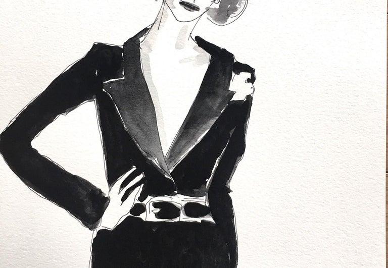 Deeda Blair in black - Black Portrait Painting by Manuel Santelices