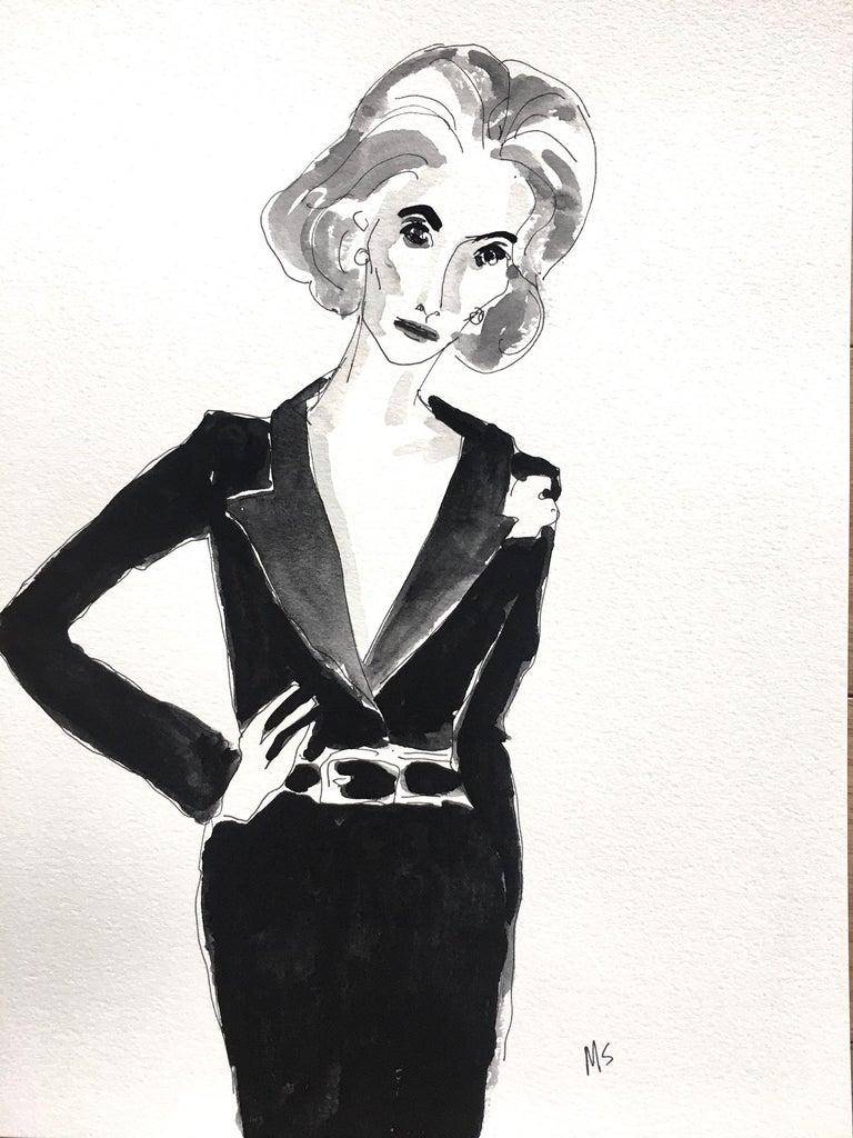 Manuel Santelices Portrait Painting - Deeda Blair in black