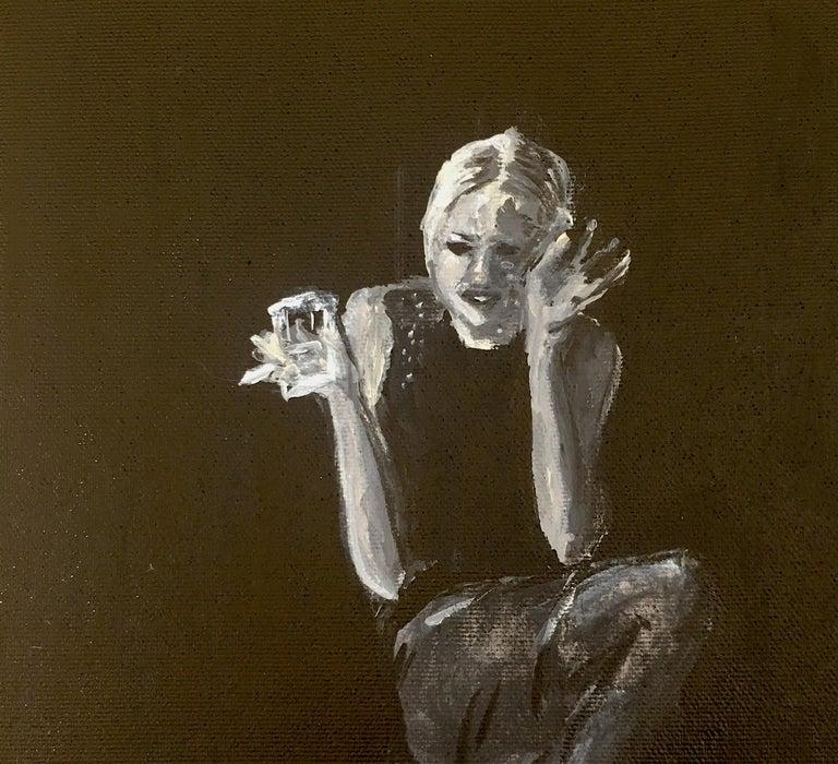 Edie Sedgwick (2020) - Black Portrait Painting by Manuel Santelices