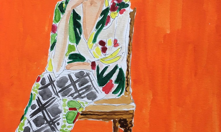 Jackie in Dries - Orange Portrait Painting by Manuel Santelices