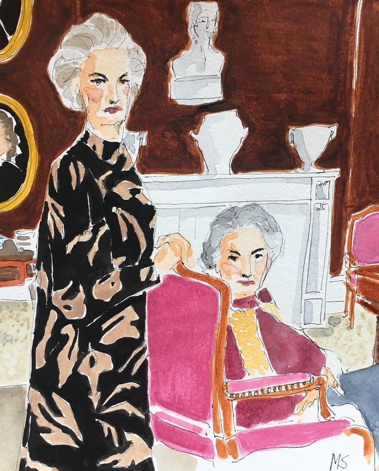 Lady Pamela Hicks and Lady Patricia Mountbatten - Painting by Manuel Santelices