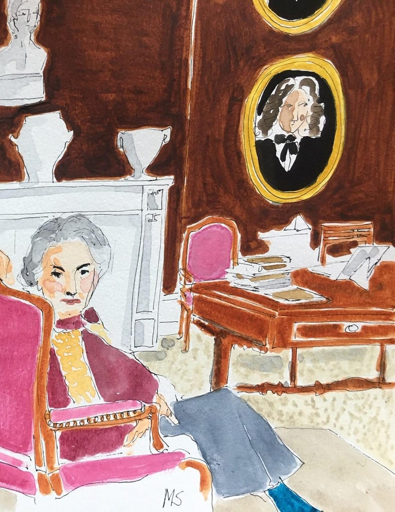 Lady Pamela Hicks and Lady Patricia Mountbatten - Beige Portrait Painting by Manuel Santelices