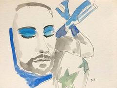 Marc's blue shadow. watercolor