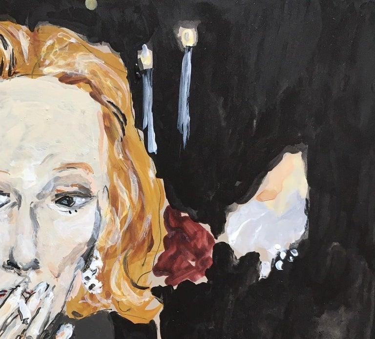 Nan Kempner smoking - Painting by Manuel Santelices